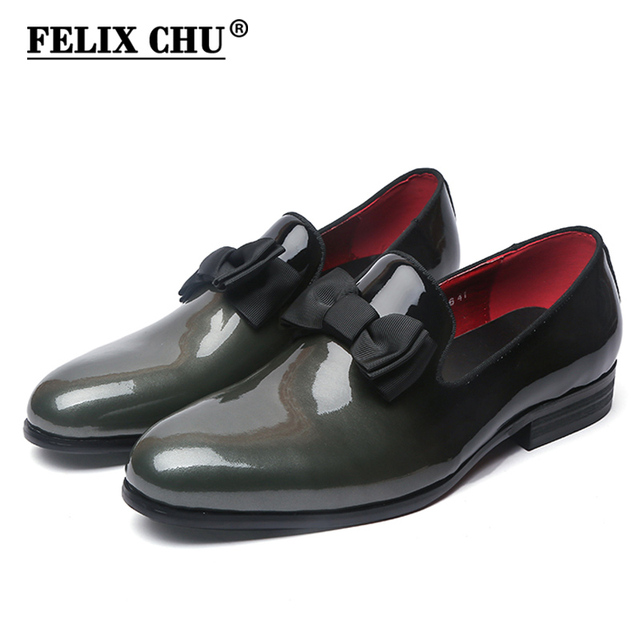 1399a289495 FELIX CHU Brand Luxury Genuine Patent Leather Men Wedding Dress Shoes With  Bow Tie Men s Banquet