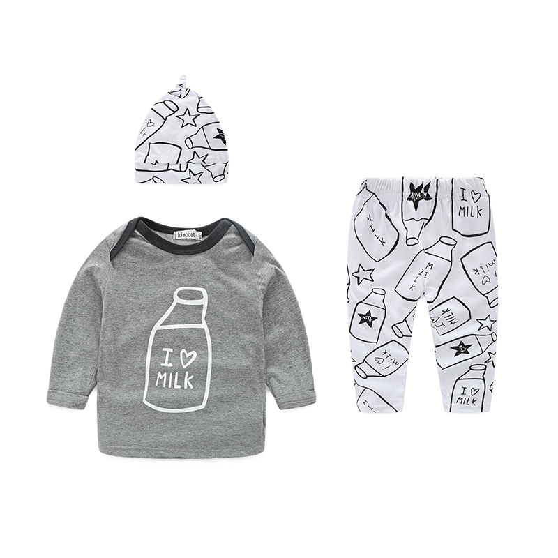 (3pcs/set) baby clothes cotton baby boy clothes unisex newborn baby girl clothes with hat