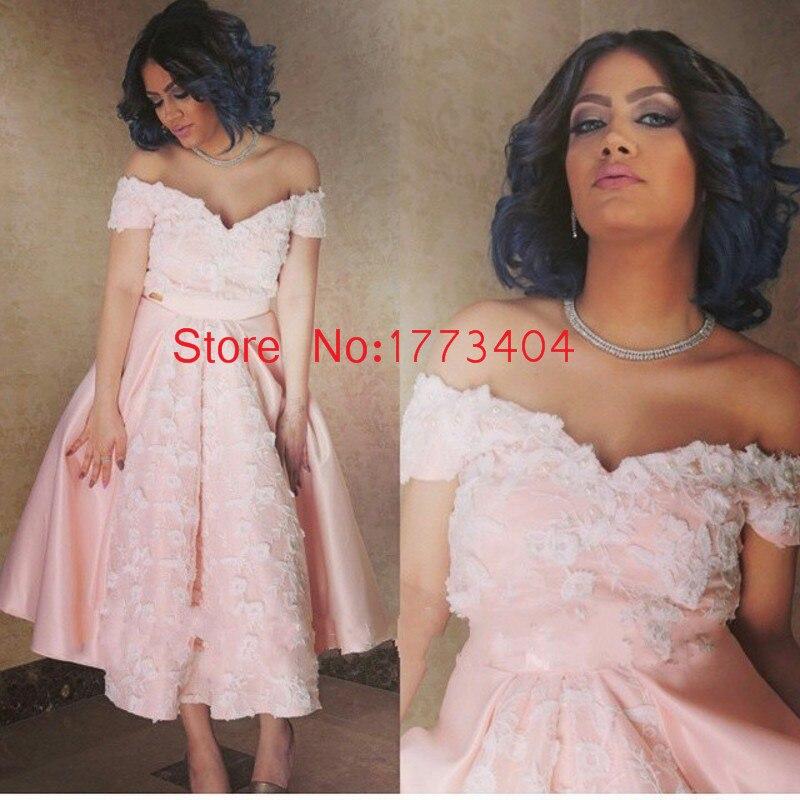 La moda Árabe Dubai Vestidos de Noche Rosado Con Apliques Fuera Del Hombro vesti