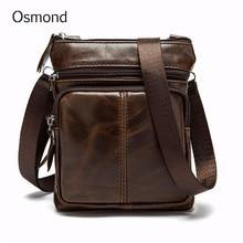 Осмонд Для мужчин из натуральной кожи Crossbody сумки для Для мужчин Малый Посланник Сумка Винтаж роскошные сумки Повседневное Ранец Bolsa