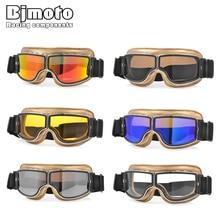 BJMOTO Foldable Windproof dustproof Vintage leather motorcycle goggles Pilot Motorbike Biker Glasses For Harley