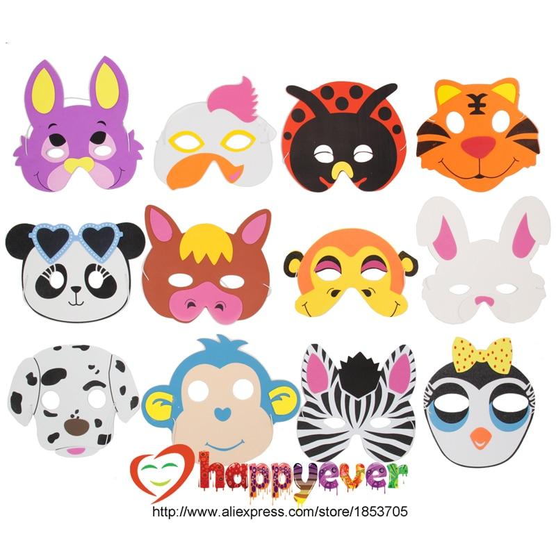 12PCS Rozmanité EVA pěnové zvířecí masky pro děti Narozeninové párty laskavosti zdobit Kostýmy Zoo Jungle Party potřeby