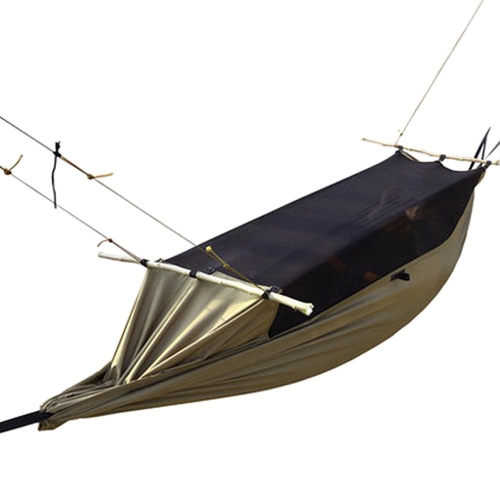 Imperméable à l'eau grande tente Camping randonnée en plein air Portable moustique vert Anti-déchirure hamac Polyester pour 1-2 personne