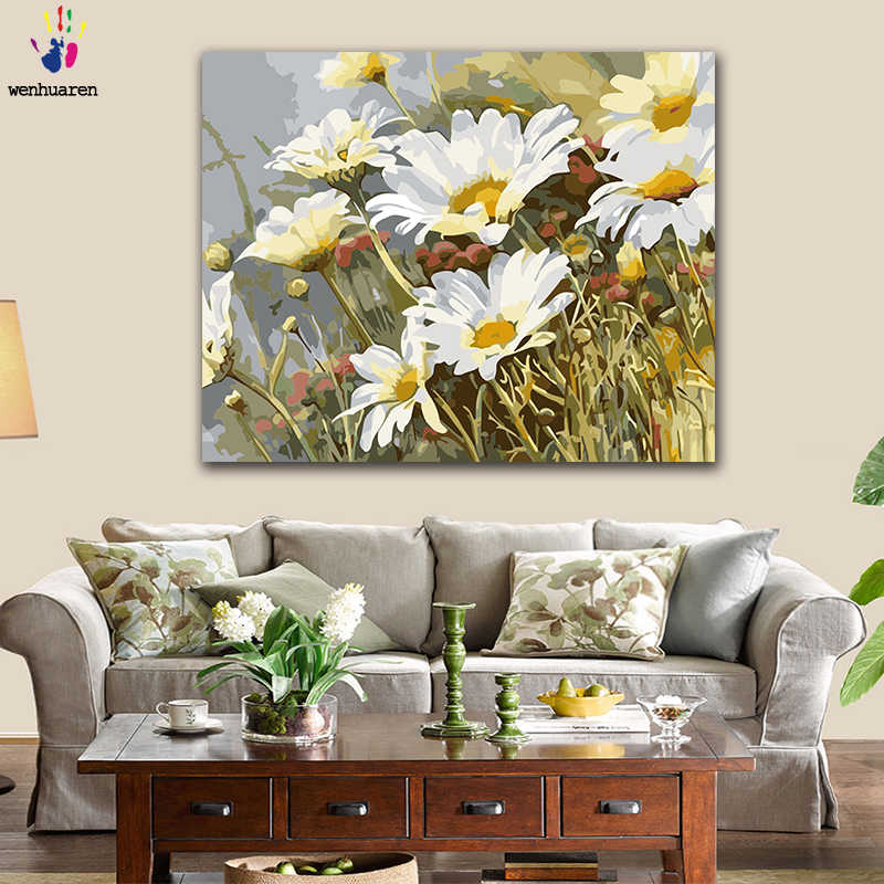 DIY Coloring paint by numbers Blooming white daisy flower in the ocean figure paintings by numbers with kits 40x50 framed