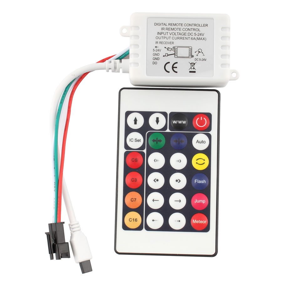 1Pcs 24Key DC 12 V IR Remote DC 12V LED Controller WS2812B WS2811 Output Port Connectors For SMD 3528 5050 LED Strip Light