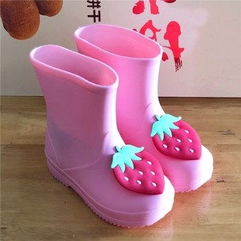 Pink Rubber Boots | Kids Rain Boots Girls Strawberry Rose Rabbit Princess Warm Solid Rubber Pink Waterproof  Antiskid Mid-calf  Slip-on Boots