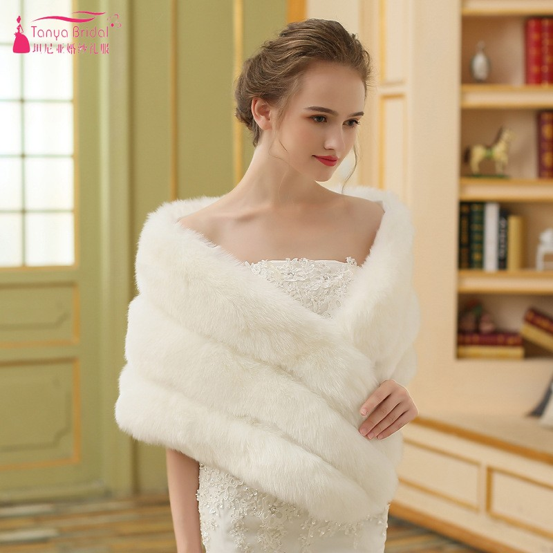 Faux Fur shawl For Wedding Bride Ivory Cheap Bridal Jacket Vintage Boleros bolero women faux fur
