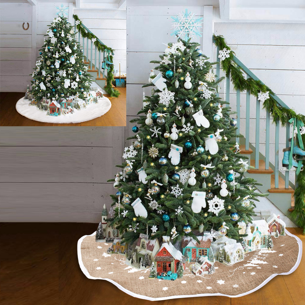 Snow Plush Christmas Tree Skirt Base Mat Cover XMAS Merry ...