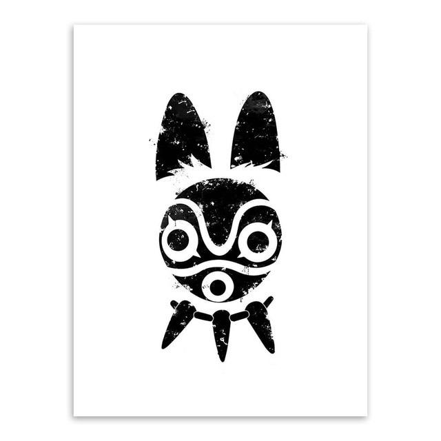 XYZNB Impressions/sur/Toile Film De 5 Panneaux Princesse Mononoke Fille Et Loup Salon Moderne Art Mural D/écoratif pour La Maison Taille A