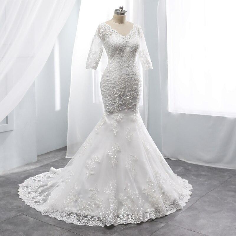 Mermaid Wedding Dress Half Sleeves Wedding Grown Sexy V Neck Chaple Train Zipper Back Customise Dress Made In China Factory Sale