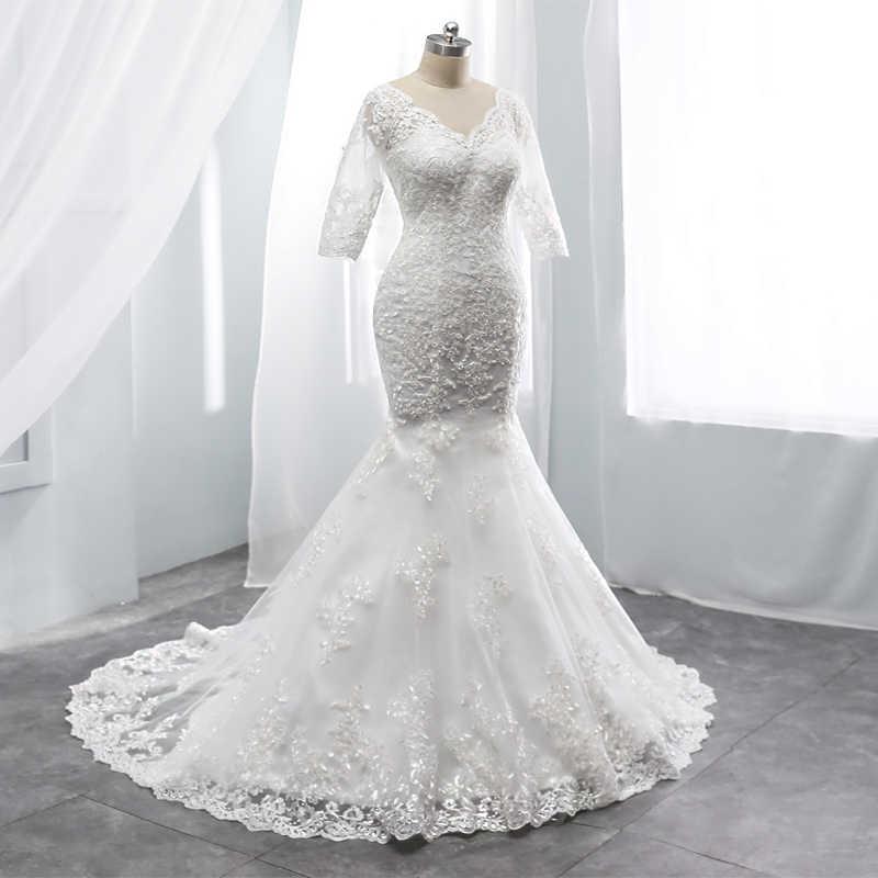 בת ים חתונה שמלה חצי שרוולים חתונה גדל סקסי V צוואר Chaple רכבת ציפר חזור התאמה אישית שמלת תוצרת סין במפעל מכירה
