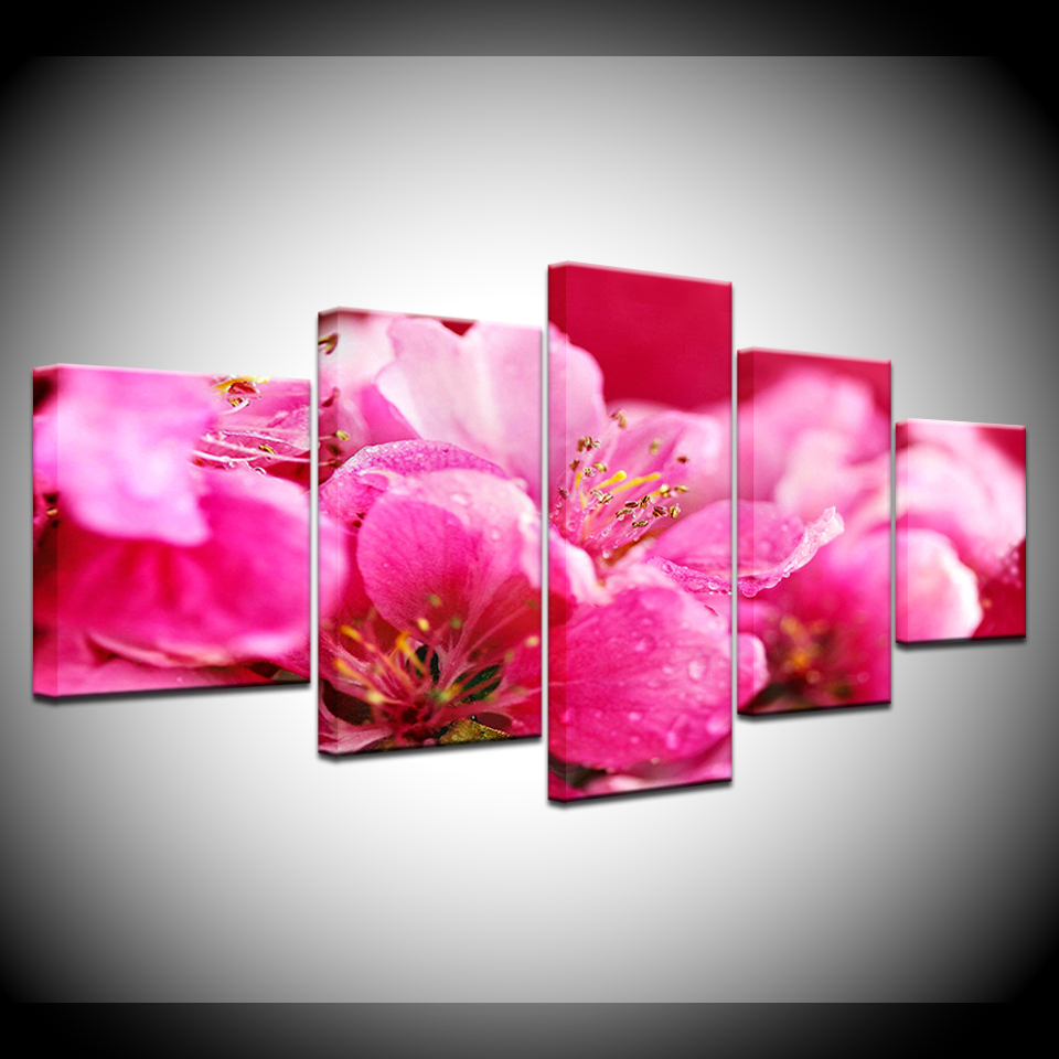 Aliexpress Buy Gohipang Hot Pink Flowers Wallpapers 5 Piece