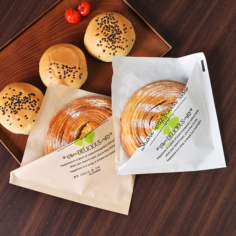 HARDIRON 100PCS White and Brown Disposable Bread Baking Oil proof Food Craft Bag Sandwich Kraft Paper Bag in Storage Bags from Home Garden