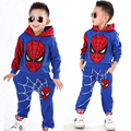 Marvel Comic Classic Spiderman Child Costume Sports Suit 2 pieces Set Tracksuits Boys Clothing Sets Hooded Coat + Pant for 2-6y