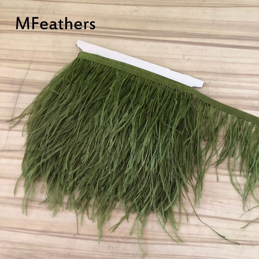 Army Green Ostrich Feather Fringe Ribbon Trim Price for 10 meter DIY Craft