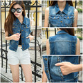 2016 New Stylish Women's Short Denim Vest Jacket Jeans Women Coat Plus Size Women Tops Casual colete feminino#MRY501