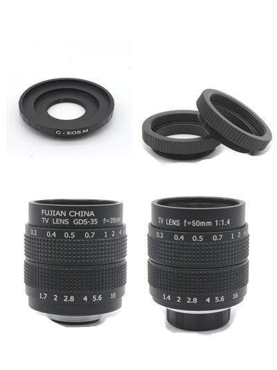 2 en 1 50mm F1.4 CCTV/35mm F1.7 CCTV moniteur TV film objectif + C monture pour Canon EOS M M2 M3 M5 M10 caméra sans miroir C-EOS M