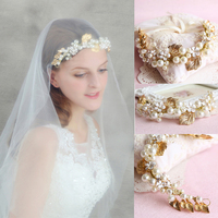 Vintage Western Bridal Hair Accessories Metal Leaf Headband Flower Hair Band Pearl Crystal Headdress Handmade Gold