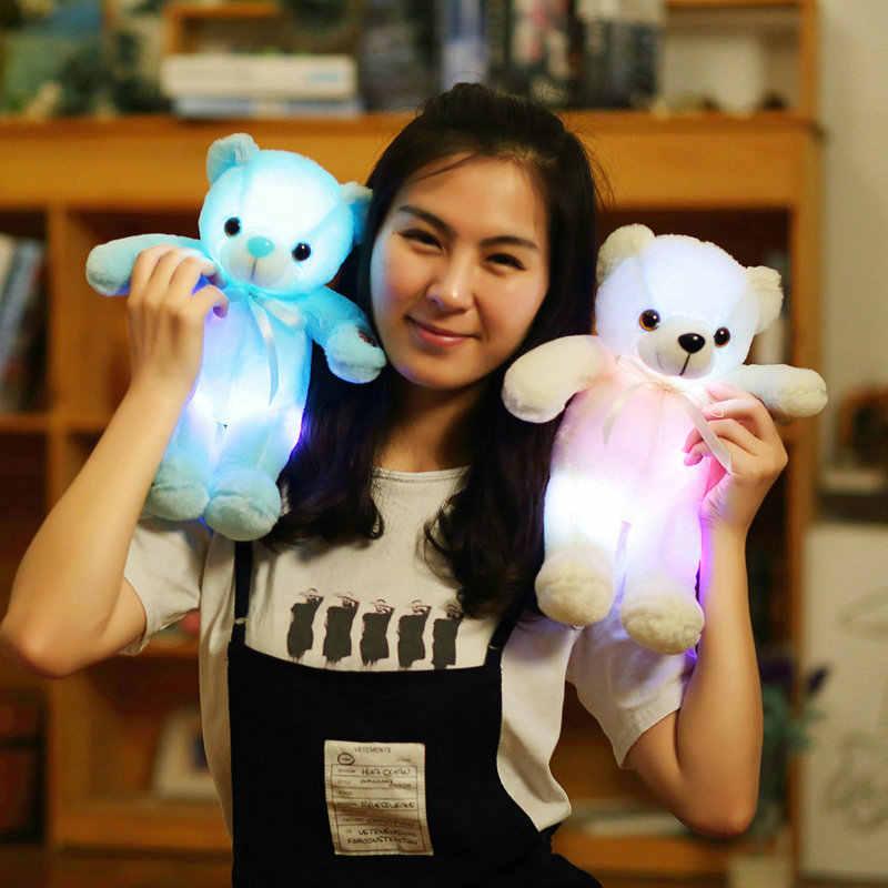 Yesfeier 32 см милый подарок на день рождения для малышей Мягкие плюшевые детские игрушки красочный светящийся медведь плюшевые игрушки мигающий свет светящийся Медведь кукла