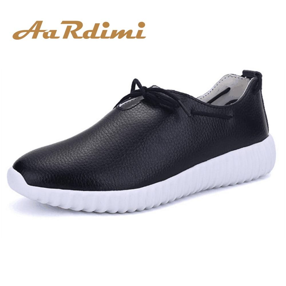 AARDIMI Women Shoes Flat Genuine Leather Spring Solid Women Outdoor Sneakers Breathable Casual Shoes Woman zapatillas deportivas hellyhansen women s outdoor casual shoes leather shoes flat shoes