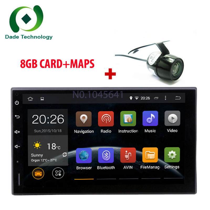 Double din HD 1024*600 Android 5.1.1 Quad Core 2din Universal 2DIN car GPS Radio Navigation BT car multimedia Stereo No DVD