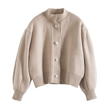 Pearl clasp with short loose lantern sleeve sweater cardigan knitting coat