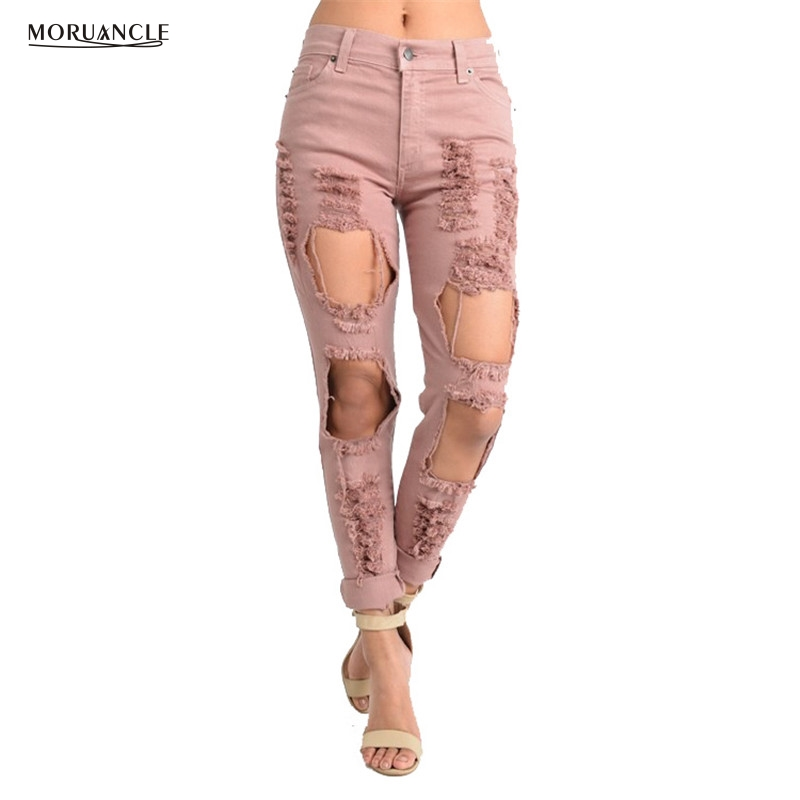 MORUANCLE Fashion Women Pink Hole Jeans Pants Distressed Boyfriend Denim Joggers For Female Destroyed Ripped Jean