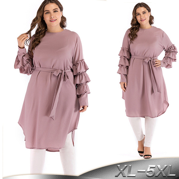 Plus Size Abaya Kimono Dubai Kaftan Women Long Beading Tutu Sleeve Muslim Hijab Dress Turkish Islamic Fashion Clothing