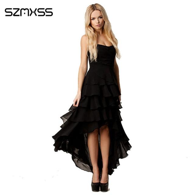 c5330f155a Women s Layer Dresses Irregularity Chiffon Banquet Long Design Cake Layered  Strapless One-piece Dress Size XS S M L XL XXL Black