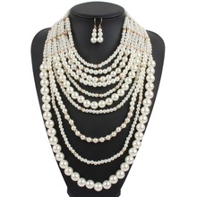 Layer Necklace New Fashion Plastic Imitate Pearl Beads Maxi Collier Statement Strand Long Necklace For Women Party Jewelry 6810