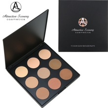 9 Color Glow Bronzer Contour Powder Palette Attractive Scenery Brand Makeup Face Pressed Or Can Be Used As Eye shadow