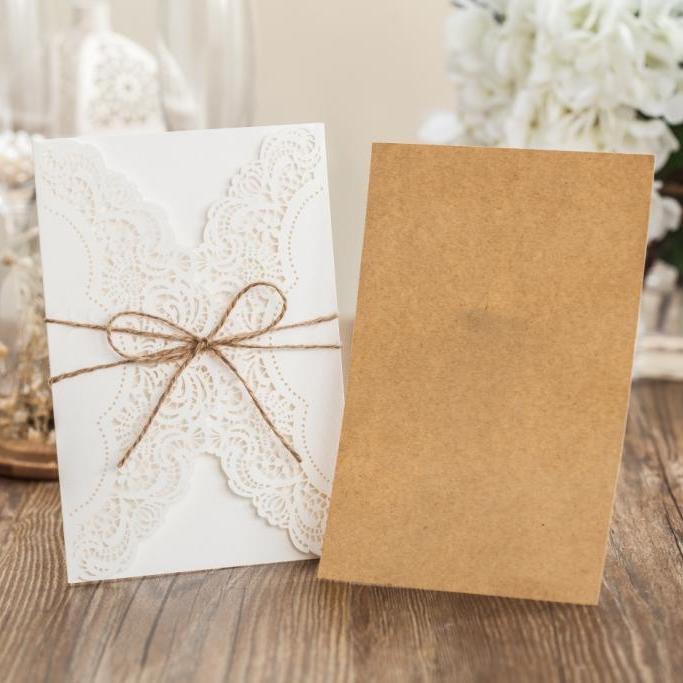 WISHMADE Braun Papier Laser Geschnitten Hochzeitseinladungen Karten + 1 + 1  + Envelope 1 Dichtungen PK14113