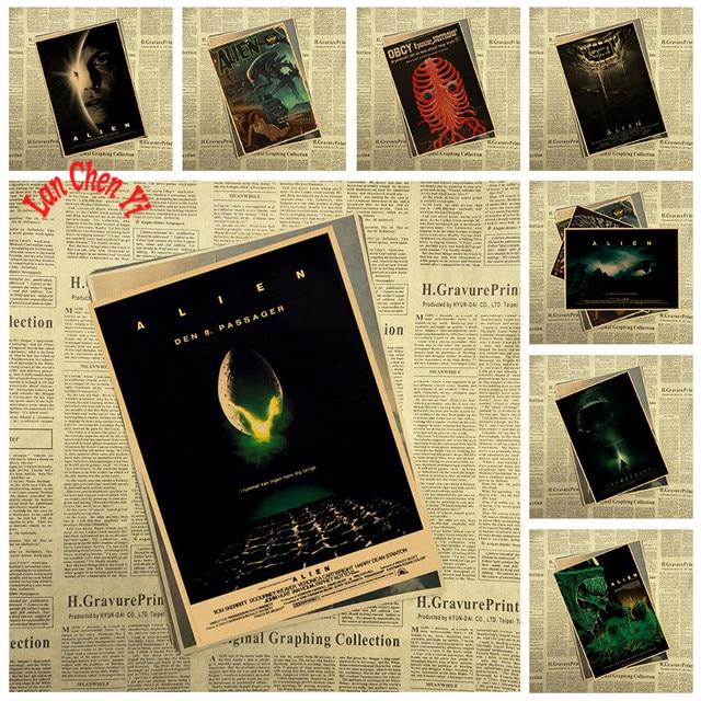 Science fiction Kraft Paper Poster Alien Office Gift Room Dining ...