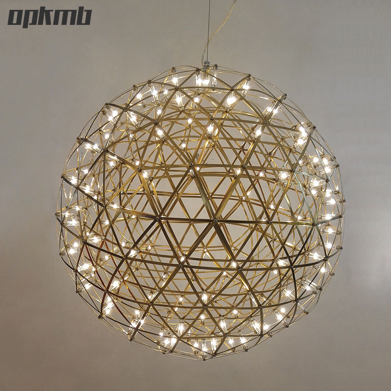 Gold Chrome Stainless Steel Firework Ball Pendant Light