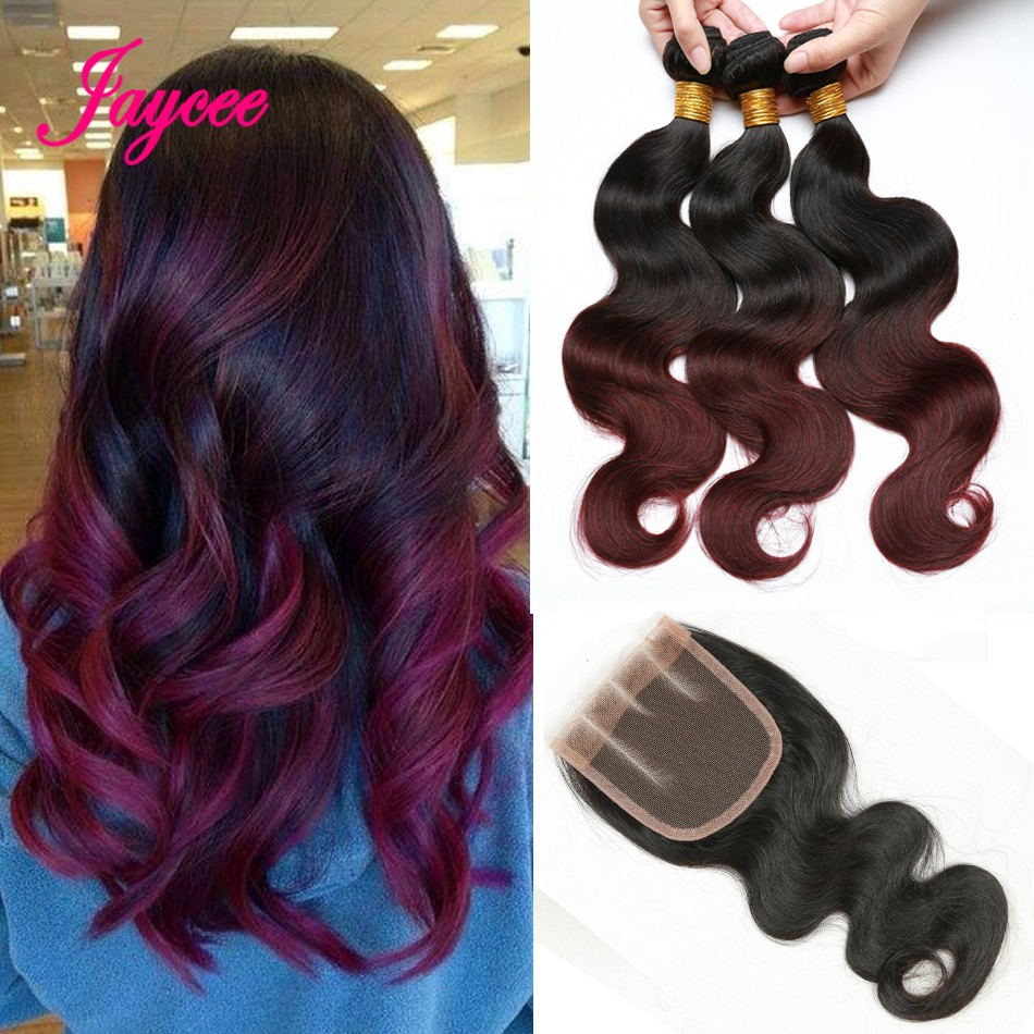 Hair with closure brazilian Body wave ombre brazillian virgin hair weave with lace closure free part wet and wavy brazilian hair