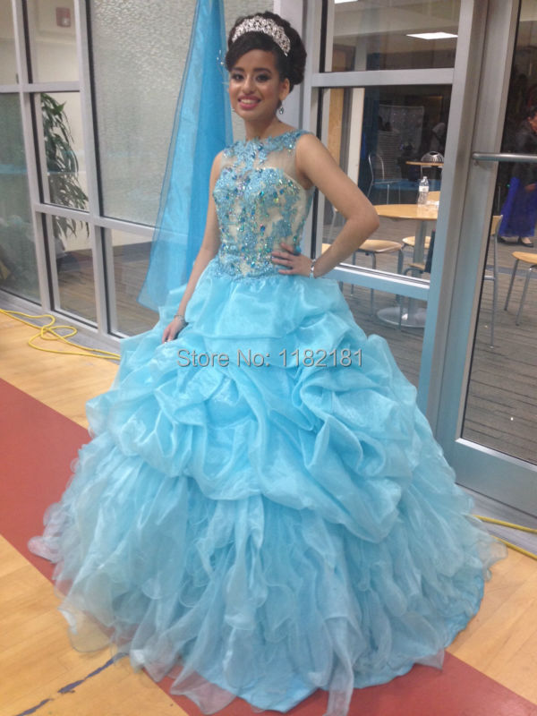2e2a25800 2016 Spring New Arrival Light Blue Ball Gown Beaded Appliqued Quinceanera  Dress Girls Sweet 15 16 Party Gowns For Prom