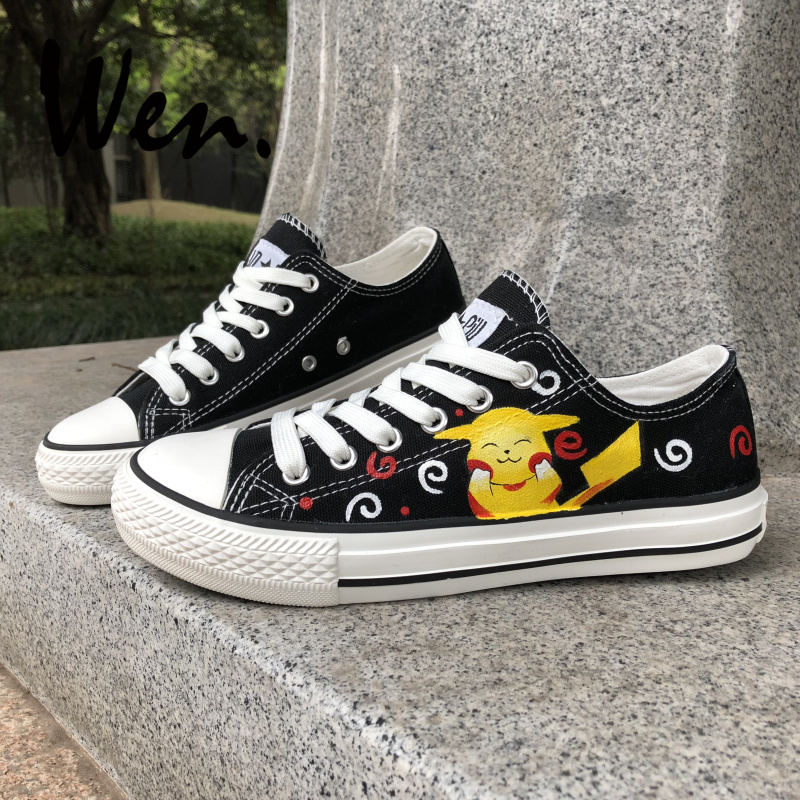 brand new fa6d5 2312c Wen Black Design Custom Hand Painted Shoes Pikachu Pokemon Pocket Monster  Low Top Canvas Sneakers for Men Women s Gifts