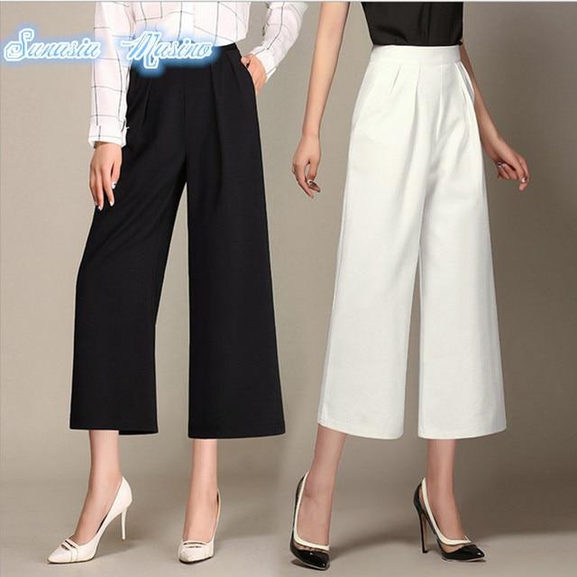 3759083287 2018 Spring/autumn high waist culottes pants winter fashion wide-leg  bigfoot wide leg