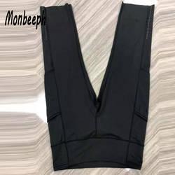Monbeeph печати леггинсы стрейч талии брюки капри штаны обтягивающие брюки-карандаш черный синий зеленый вино красный Капри