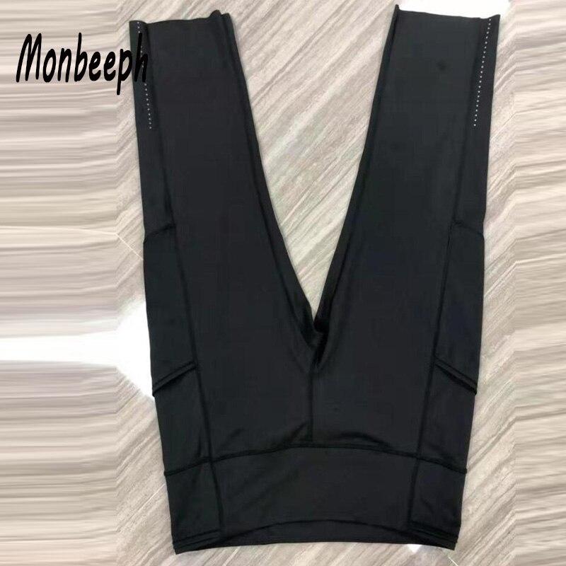 Monbeeph print leggings stretch taille hosen capris hosen Bleistift dünne Hosen schwarz blau grün wein rot capris
