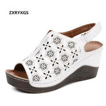 2019 New Open Toe Printing Hollow Genuine Leather Shoes Woman Fashion Sandals Elegant Comfortable Wedges Summer Women Sandals