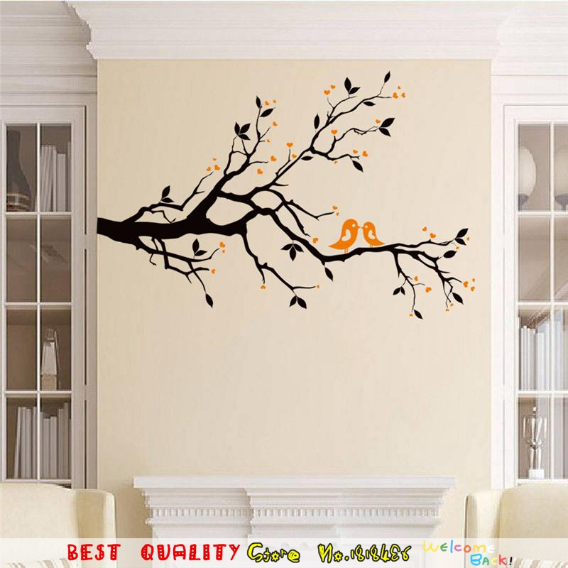 Black tree branch blossom wall stickers living room decor for Black tree mural