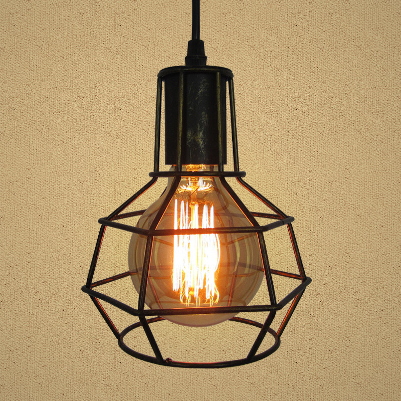 Vintage Loft Industrial Retro Pendant Lamp Edison Light E27 Holder Iron Restaurant Bar Counter Attic Bookstore Cage Lamp loft vintage industrial retro pendant lamp edison light e27 holder iron restaurant bar counter brief hanging lamp wpl098