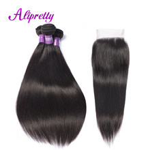 Alipretty Brazilian Straight Hair Bundles With Closure 4Pcs/Lot Non Remy Hair Weave Human Hair With Closure Swiss Lace Hand Tied(China)