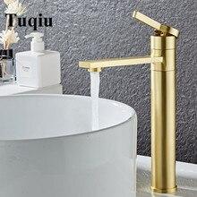 Смеситель для ванной комнаты, Твердый латунный Смеситель для ванной комнаты, смеситель для холодной и горячей воды, смеситель для раковины, кран с одной ручкой на бортике, матовый золотой кран