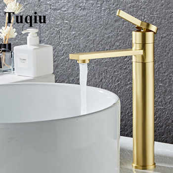 Bathroom Faucet Solid Brass Bathroom Basin Faucet Cold And Hot Water Mixer Sink Tap Single Handle Deck Mounted Brushed Gold Tap - DISCOUNT ITEM  48% OFF All Category