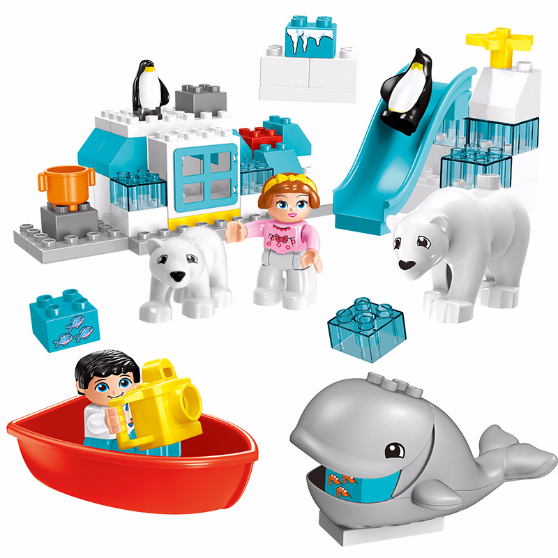 Original big Building Blocks ice ocean world sets figure bear penguin diy Bricks child Toys Compatible With Duplo birthday Gift forest park plant tree leaf model big particles building blocks toys set bricks diy accessory child gift compatible with duplo