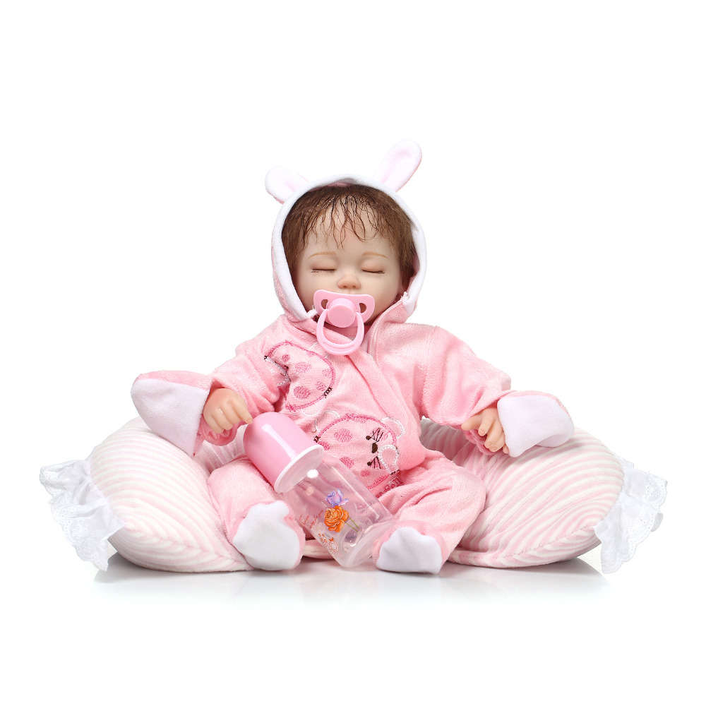 ФОТО Silicone reborn baby dolls 40cm lifelike reborn babies sleeping girls Kids Christmas gift newborn baby brinquedos newest design