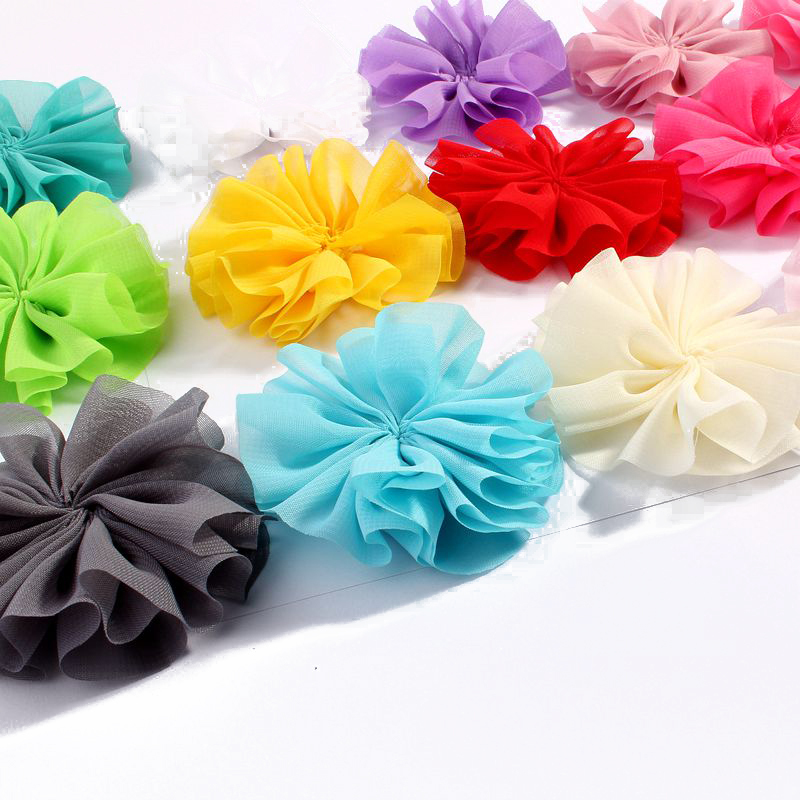 120pcs/lot 6.5cm 15colors DIY Solid Chiffon Ballerina Hair Flower For Girl Accessories Artificial Fabric Flowers For Headbands 50pcs lot 4 1 17colors shabby lace mesh chiffon flower for kids girls hair accessories artificial fabric flowers for headbands