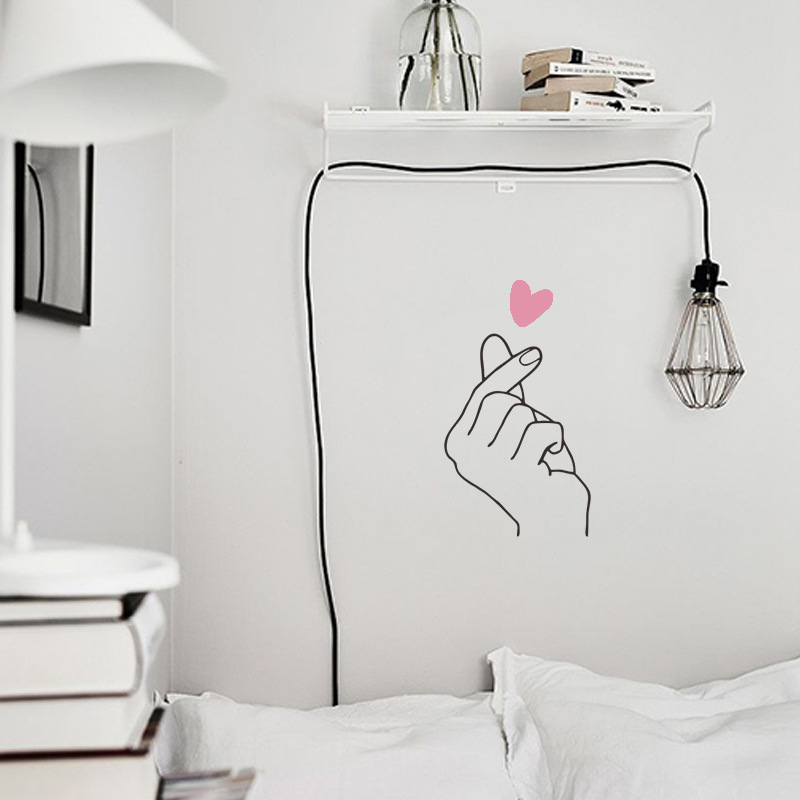 Hot Sale Love Gesture Wall Sticker Romantic Love Background Home Decoration Mural Art Decals Creative Stickers Wallpaper